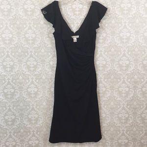 {White House Black Market} Black Faux Wrap Dress